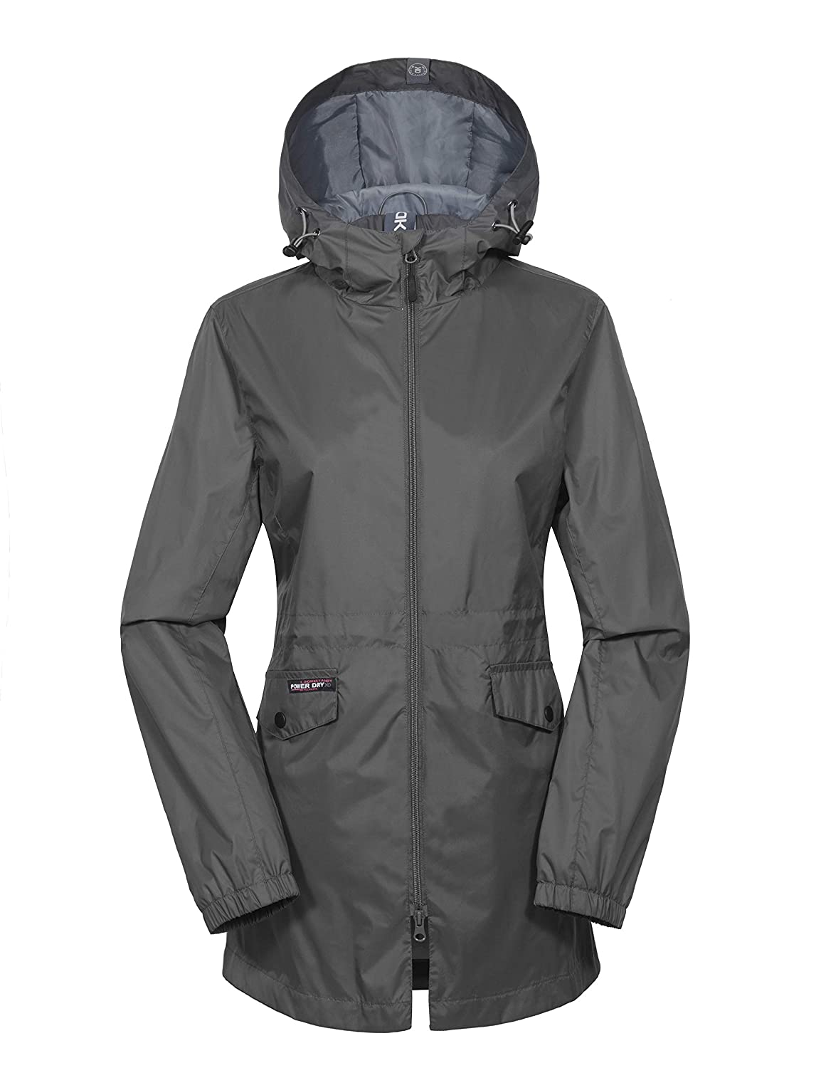 Grey Little Donkey Andy Women's Long Lined Rain Jackets Waterproof with Hood