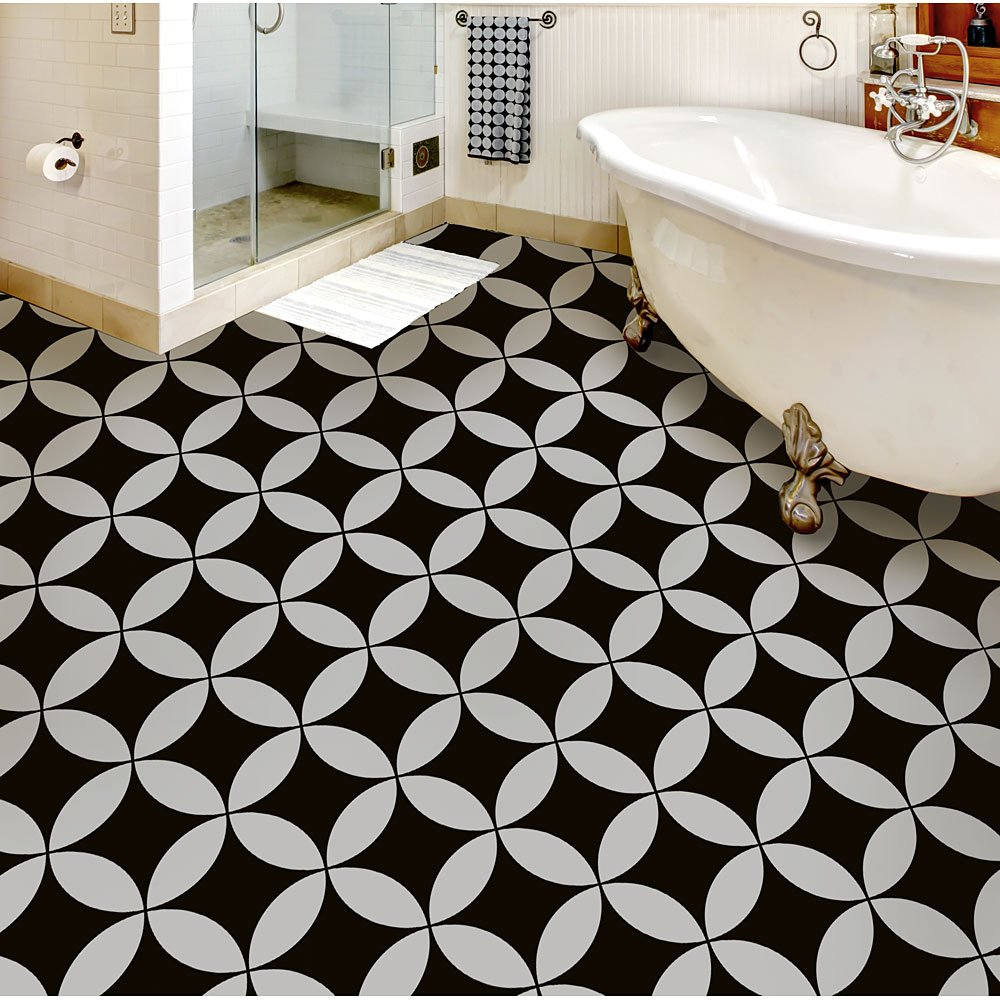Nagoya Tile stencil by Cutting Edge Stencils. Faux cement tiled floor with a stencil! #stencil #fauxtile #cementtile