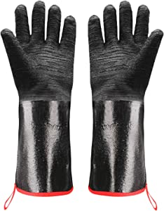 MIMIVIVA BBQ Grill Gloves, Heat Resistant Gloves for Turkey Fryer, Barbecue, Baking, Oven, Oil Resistant Cooking Gloves, Fireproof Waterproof Grilling Gloves (17 Inches)