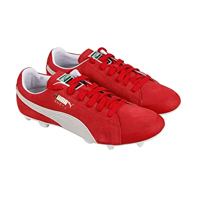 37868610cc8f99 Puma Future Suede 50 Fg Ag Mens Red Suede Athletic Lace Up Soccer Shoes 9