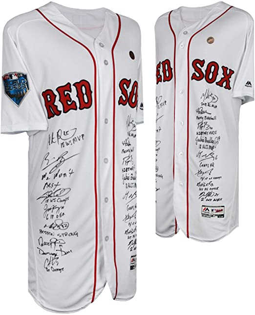 8dced31c15b Boston Red Sox 2018 MLB World Series Champions Autographed Majestic White Authentic  Jersey with 15 Signatures and Multiple Inscriptions -  1 of a Limited ...