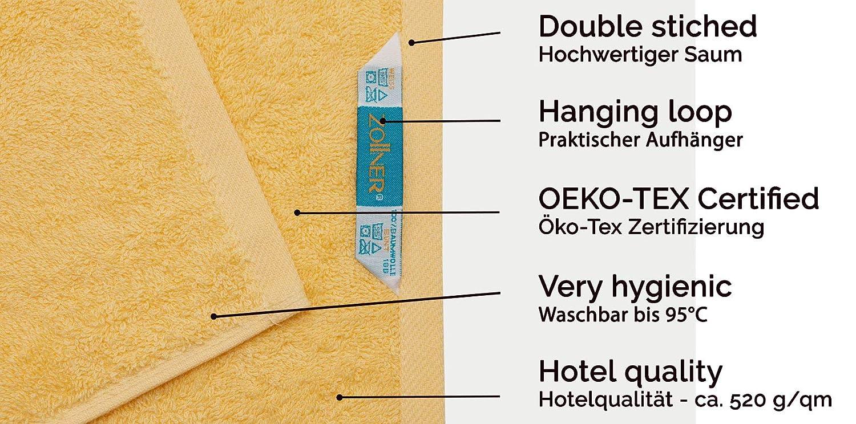 Disponibili in Tanti Altri Colori ZOLLNER/® Set di 3 Pezzi dasciugamani Doccia//Telo Doccia 70x140 cm Bianco Serie Star-Elba Direttamente dallo specialista in Gastronomia