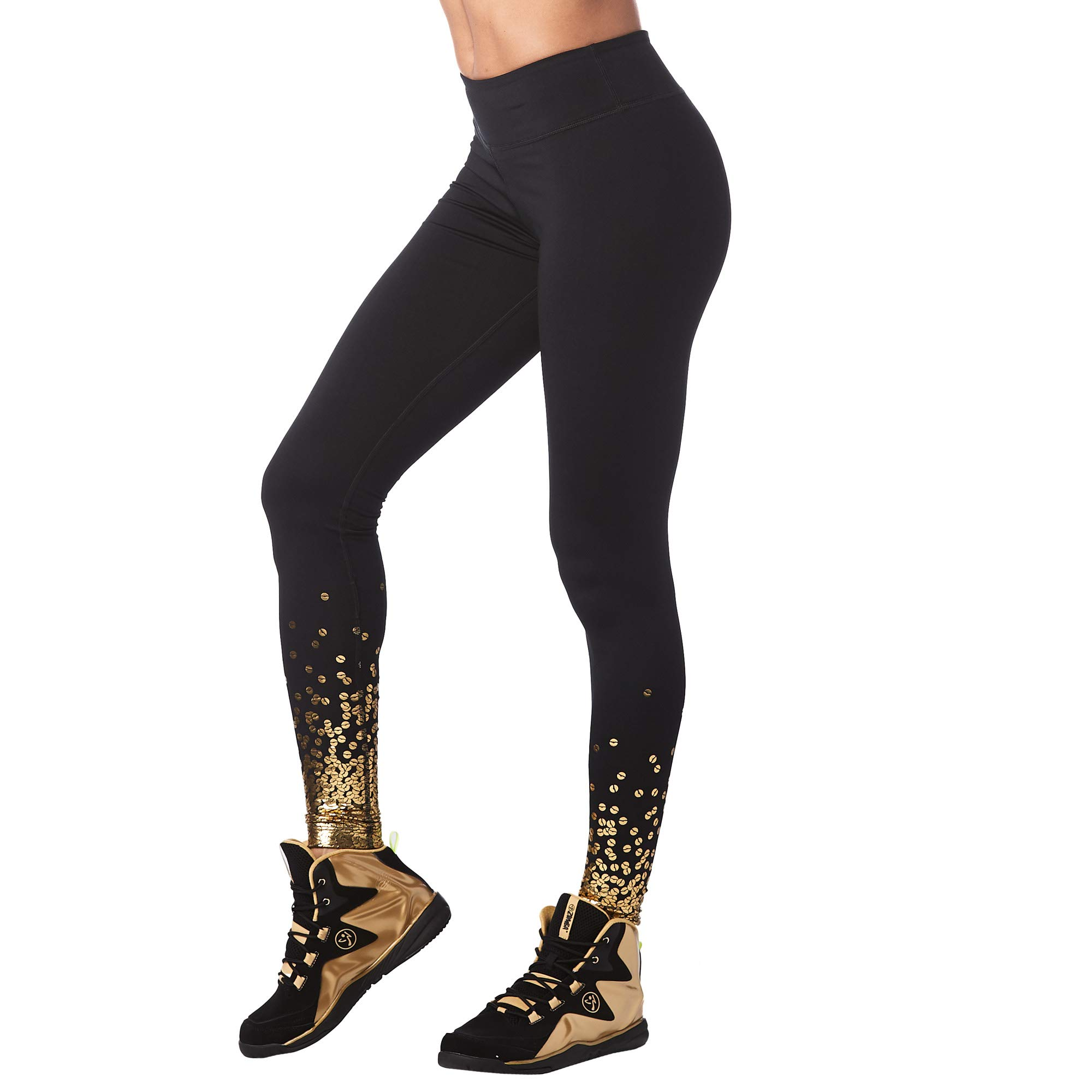 Zumba Wide Waistband Dance Fitness Compression Fit Workout Metallic Leggings for Women by Zumba