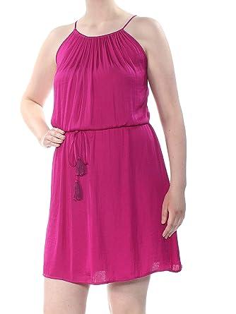 35a0444d72eec VINCE CAMUTO $119 1755 Purple Pleated Halter Neckline Empire Tie Waist Dress  XL at Amazon Women's Clothing store: