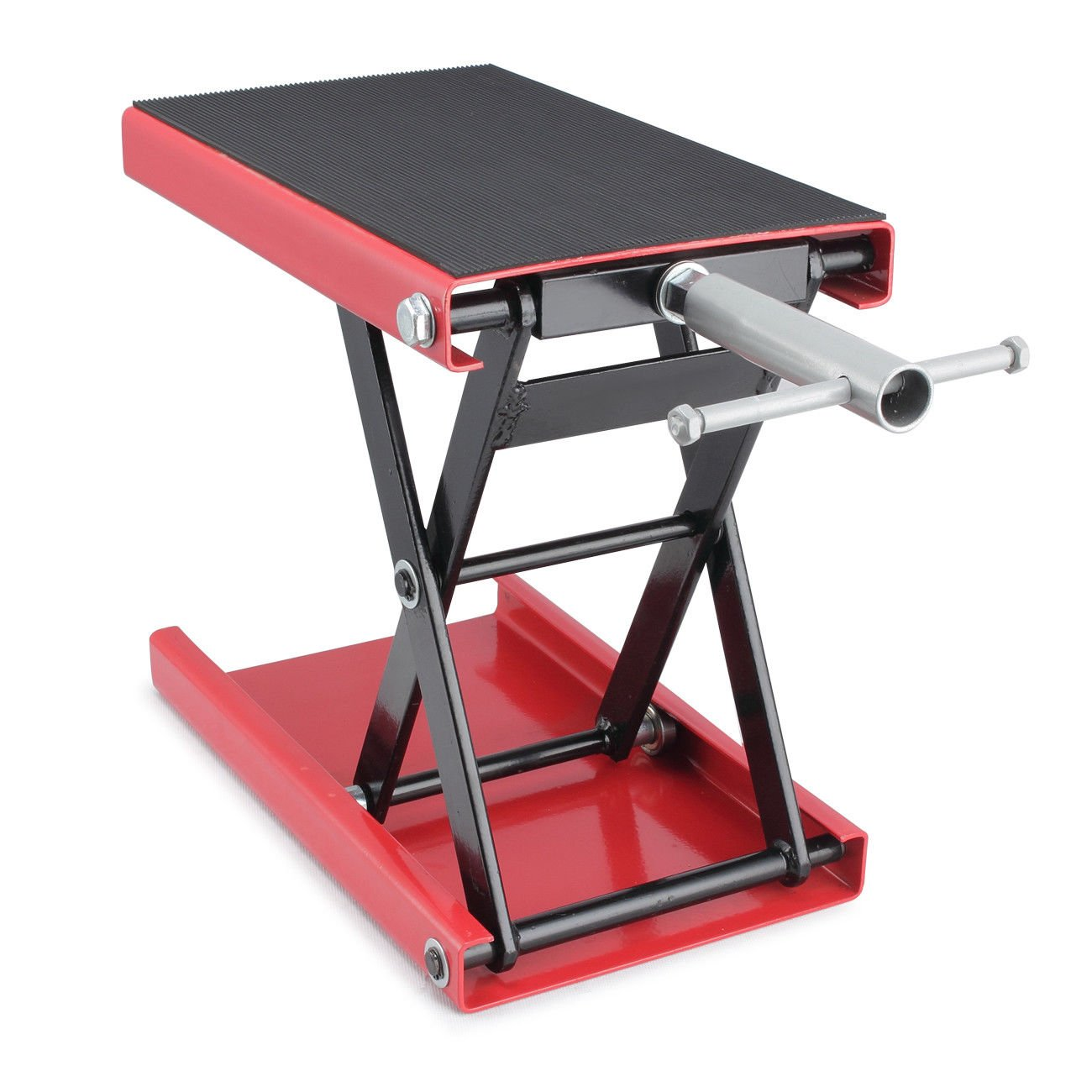 GHP 1100-Lbs Capacity Red Steel Scissor Jack Garage Crank Motorcycle Lift Floor Jack