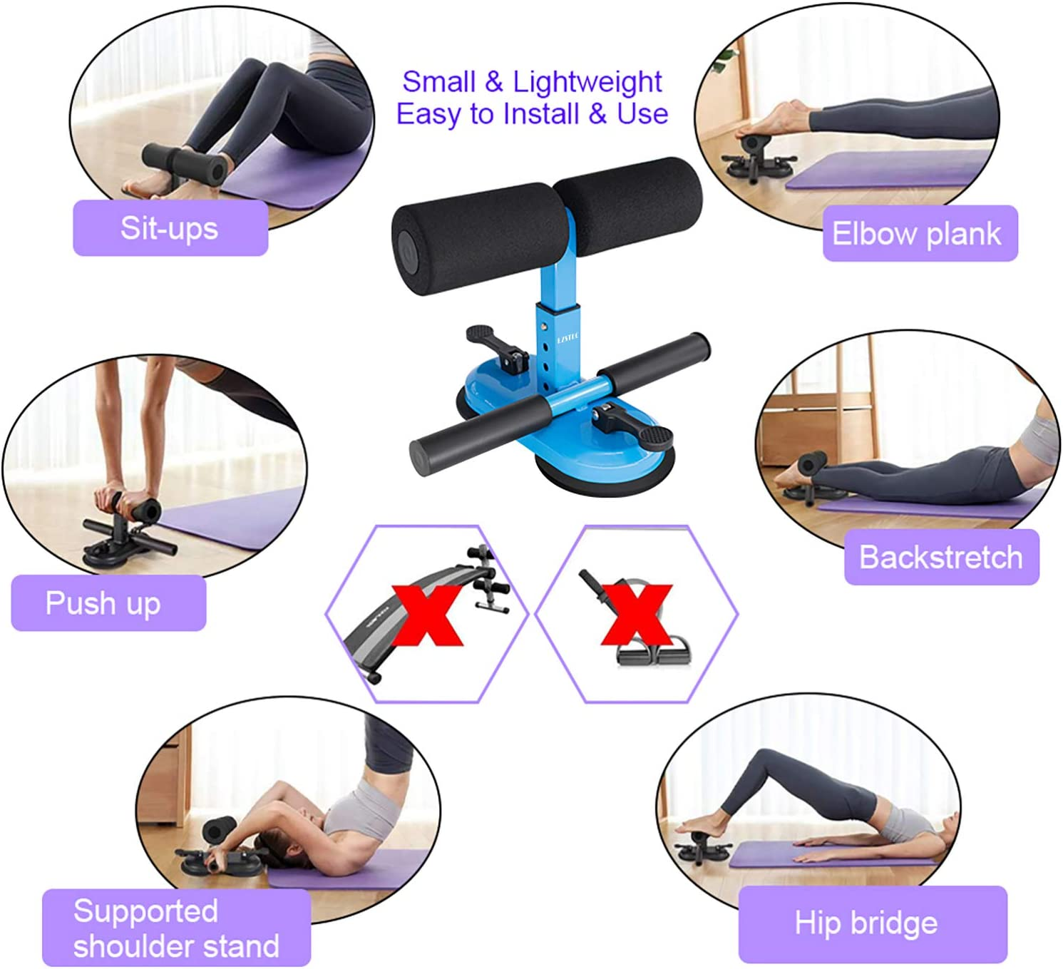 LZSTEC Sit Up Bar for Floor Sit Up Assistant Device Sit-Ups Foot Holder with 2 Self-Suction Cups and 4 Positions Portable and Adjustable Equipment for Abs Home Workouts (Blue) : Sports & Outdoors