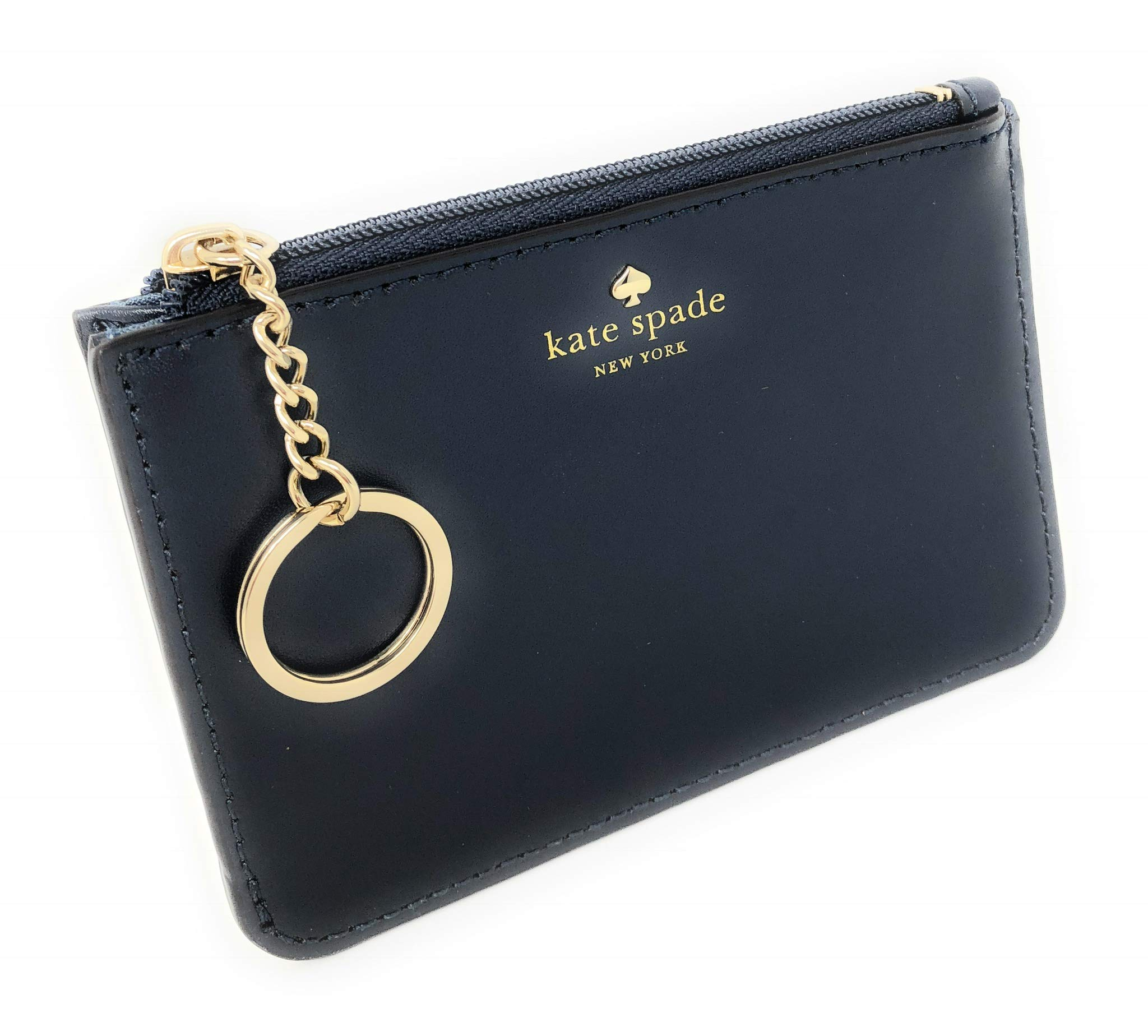 Kate Spade New York Lawton Way Smooth Leather Bitsy Card Case Key Chain Ring Navy by Kate Spade New York