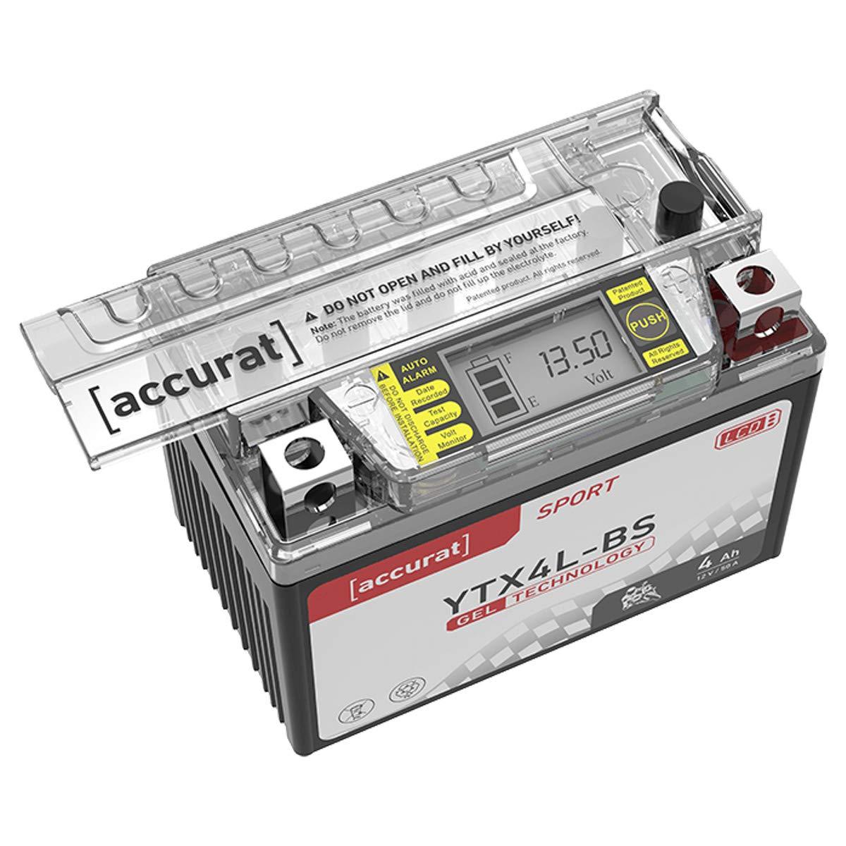 Accurat Motorradbatterie YTX12-BS 12Ah 180A 12V Gel Technologie LCD Display Starterbatterie leistungsstark r/üttelfest ABS geeignet wartungsfrei