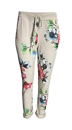 c42daff048e New Italian Women Ladies Multi Floral Print Elastic Waist Cotton Summer  Trouser Jogger Legging Pants One