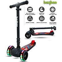 Baybee SPEEDFORCE 3 Wheel Folding Kick Kids Scooty Scooter Tricycle for Indoor & Outdoor Fun with Brake-LED Skate Scooter for Kids with Adjustable Height Age 3-14 Years-Capacity 100 kg