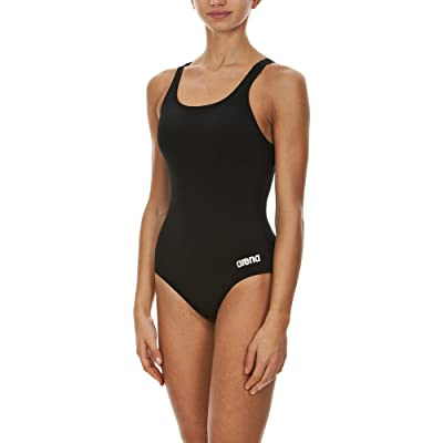 Arena Women's Madison Race Polyester Solid Swim Pro Back Swimsuit,Black/Metallic Silver,32