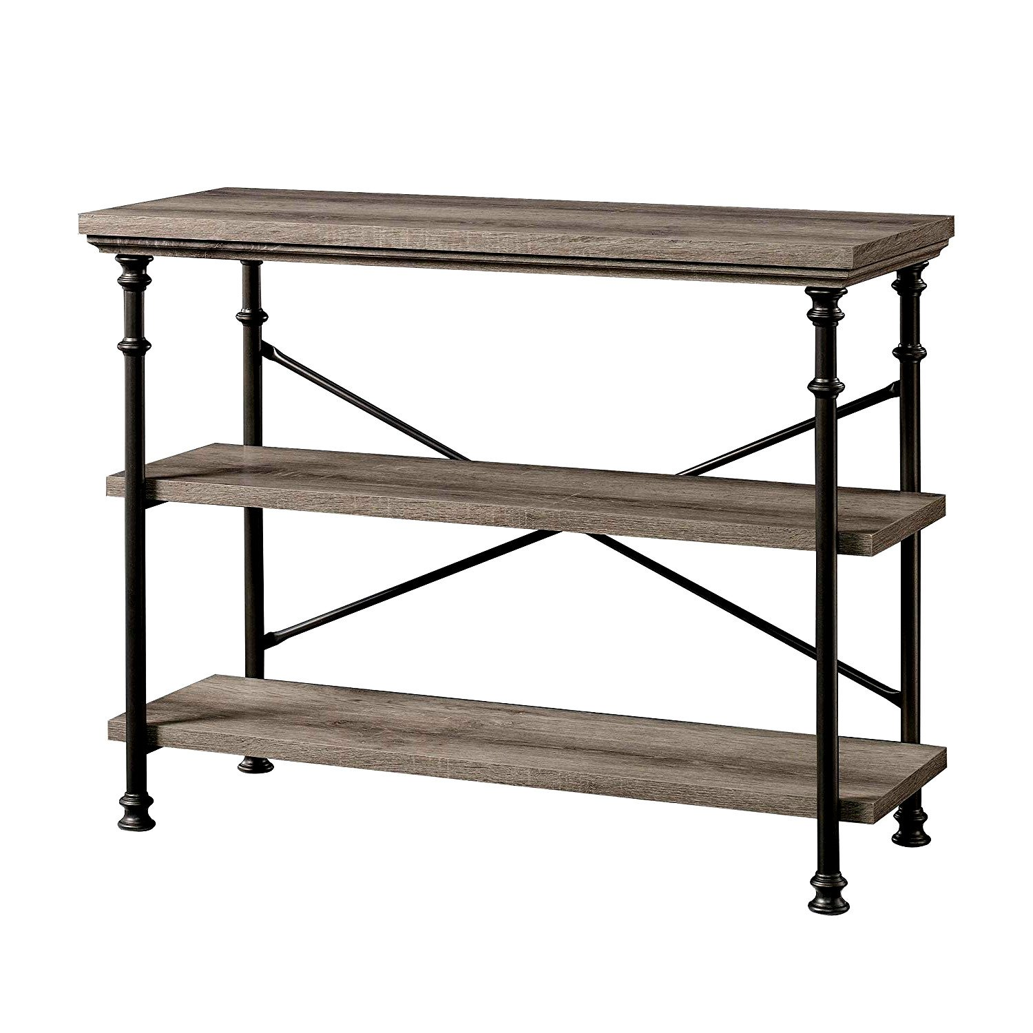 Hallway console table with storage shelves oak grey wood modern sofa table entryway furniture contemporary style 3 tier sofa ample table with metal frame