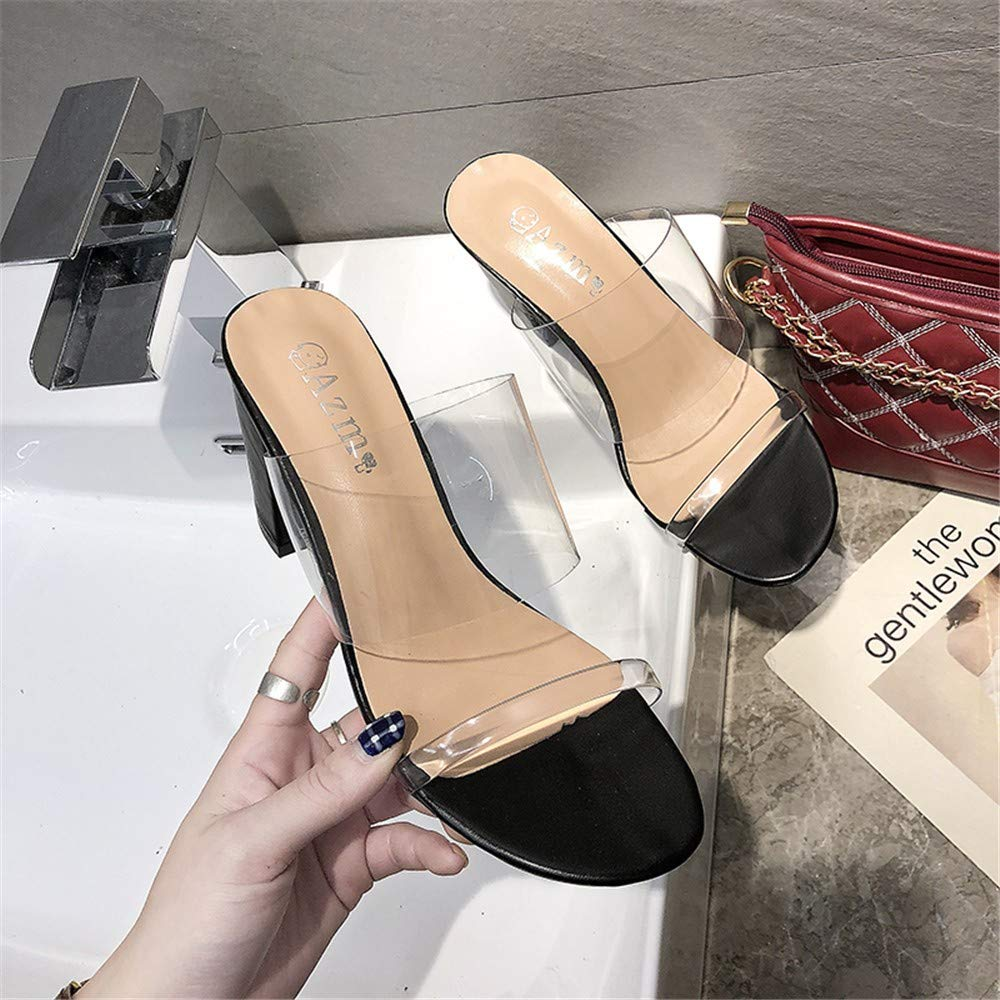Transparent Word Girl Thick with High Heels 2019 Summer New Seaside Holiday Net Red Fairy Wind Drag