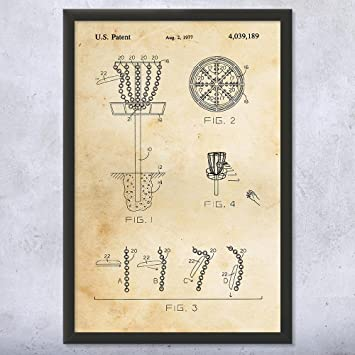 Amazon.com: Framed Disc Golf Goal Patent Art Print, Disc Golf Patent ...