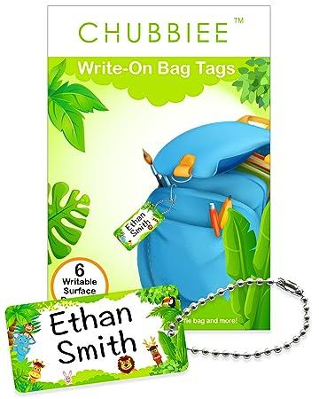 amazon com child id bag tags write on kids name tags for backpack