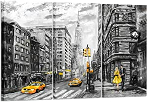 Kreative Arts - Modern New York City Canvas Print Black and White USA Street Painting Empire State Building Wall Art Modern Giclee Artwork Ready to Hang 16x32inchx3pcs