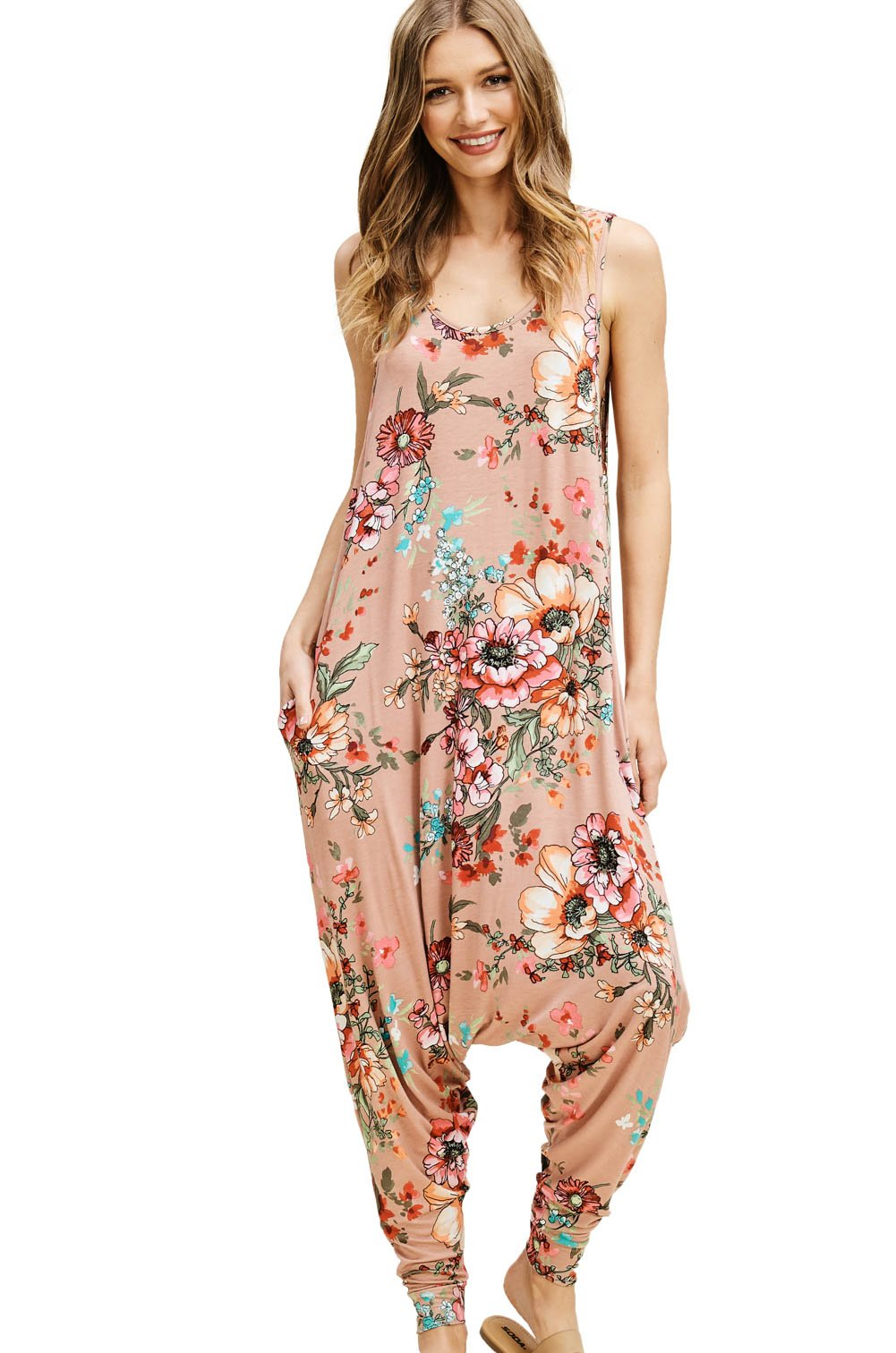 cf51d27cfef6 Annabelle Women s One Piece Knit Floral Print Sleeveless Round Scoop Neck  Baggy Harem Jumpsuit with Pockets