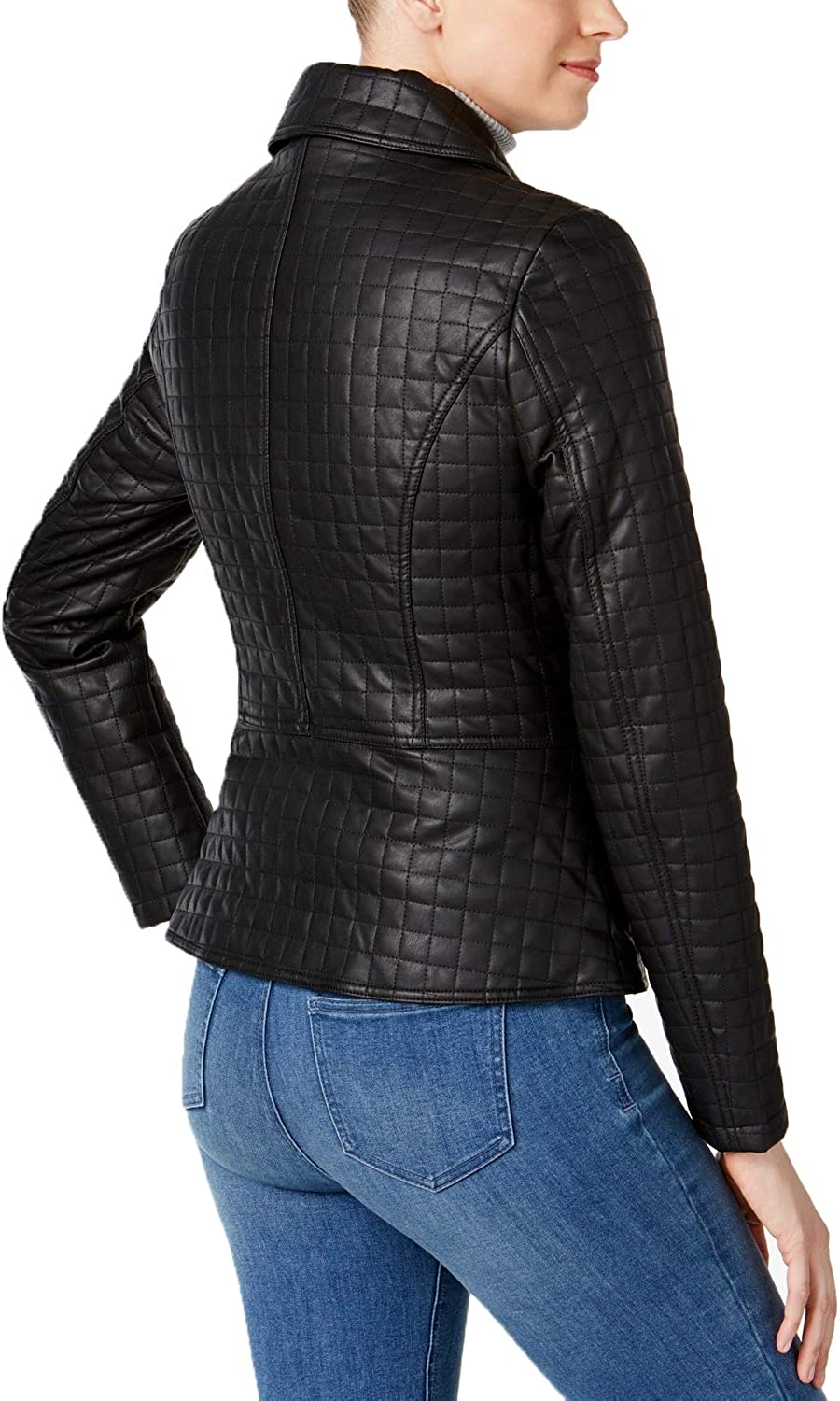 Black, Medium INC International Concepts Quilted Faux-Leather Moto Jacket