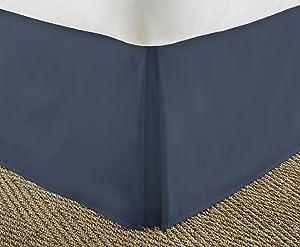 ienjoy Home Premium Pleated Dust Ruffle Bed Skirt, Queen, Navy