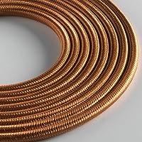 Klartext LUMIÈRE textilkabel, rund, 3 x 0,75 mm, brons, 3 m lång kabel, inklusive jordkabel ultimat säkerhet