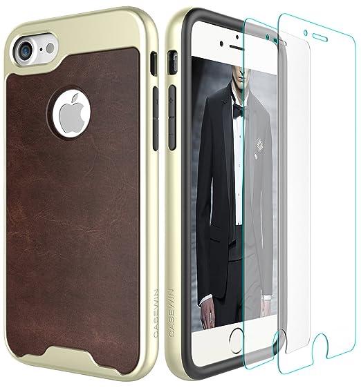 6 opinioni per Custodia iPhone 7 Con [2 Pack] Schermo Protector Vetro Temperato, Premium PU