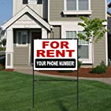 For Rent Aluminum Yard Sign With 18x24 Metal Frame   Customizable Phone  Number!