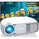 """Bluetooth Projector Support 4K UHD, WiMiUS S4 Native 1080P Projector with Zoom & Keystone & Dual 5W Speaker, 300"""" Home & Outd"""