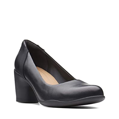 4e27f1be2890a Clarks Womens Black Leather 'Un Rosa Step' Mid Block Heel Court Shoes 5