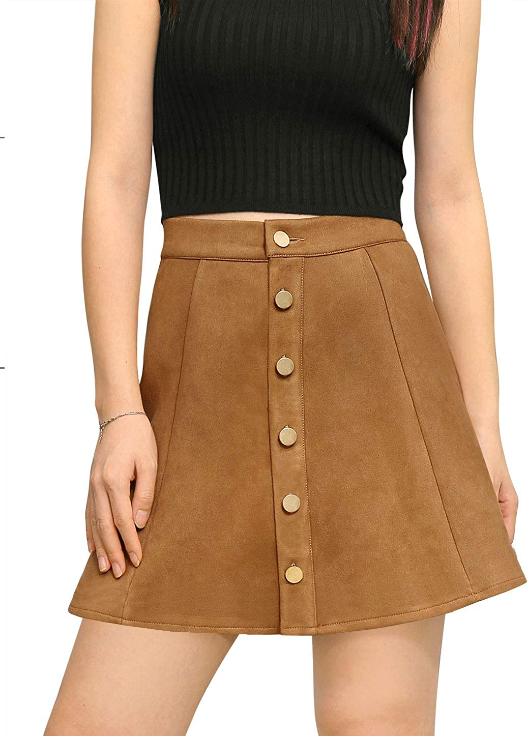 Allegra K Women's Faux Suede Single Breasted Front A-Line High Waist Button Closure Mini Short Skirt
