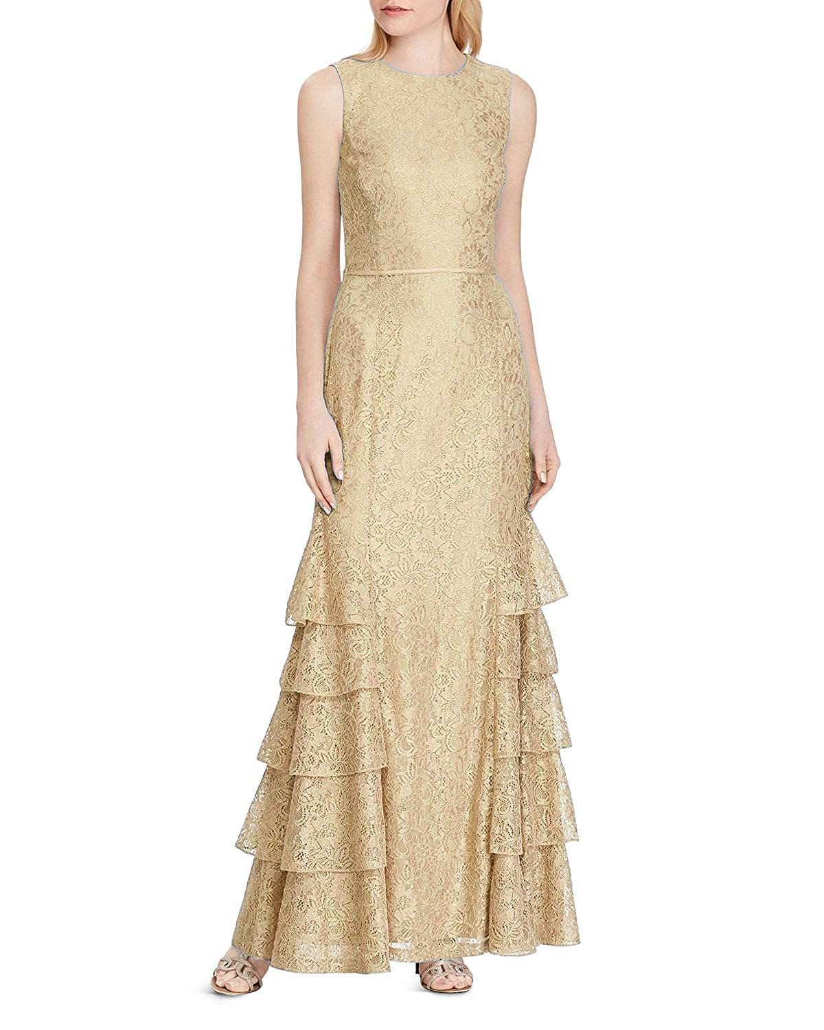 Champagne Wanshaqin Women's Aline Tiered Lace Appliques Evening Gown Wedding Formal Party Dress