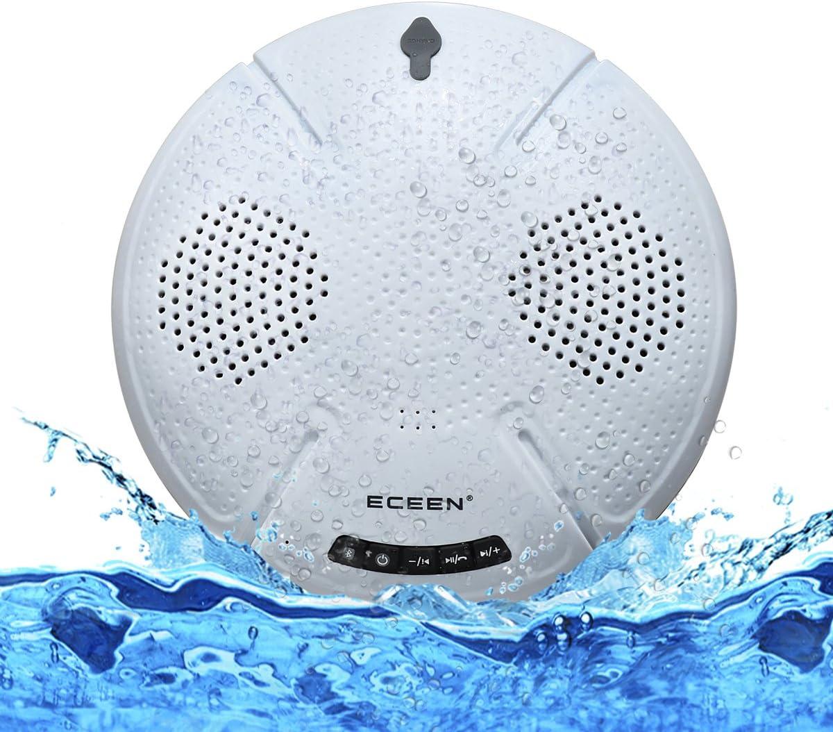 Bathroom Car Home Beach Shower-IPX7 Dual 5W Audio Drives Boat ECEEN Swimming Speaker Pool Floating Speakers Wireless Waterproof Stereo Splashproof Shockproof Dustproof for Outdoor