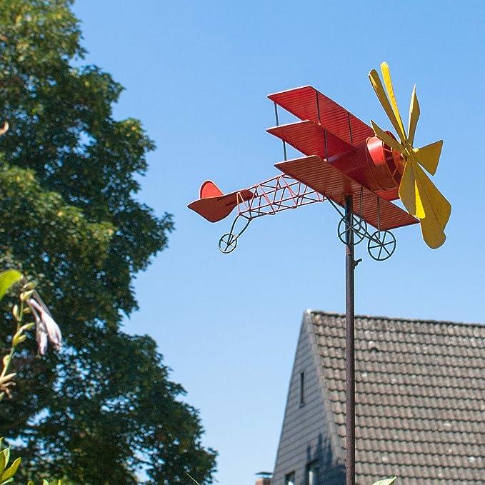 motif :  44 x 46 cm Carillon /éolien en m/étal avion de baron rouge-r/ésistant aux intemp/éries avec effet vieilli-/éolienne :  30 cm hauteur totale :  160 cm-avec standstab