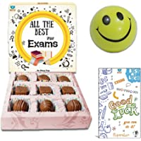 BOGATCHI Exam Day Gift, EXAM Special Chocolates, EXAM Gift Hamper, Exam wishes, All the Best, Good Lucks , 9pieces + FREE -Smiley Ball (to control stress) + FREE Exam Wishes Greeting Card