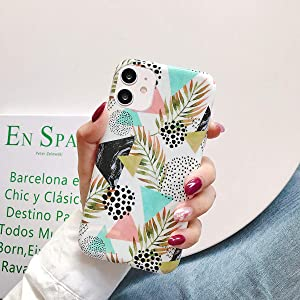 wzjgzdly iPhone 11 Case [Geometric Marble Elements Pattern] Compatible for Apple iPhone 11 (Marble Leaves)