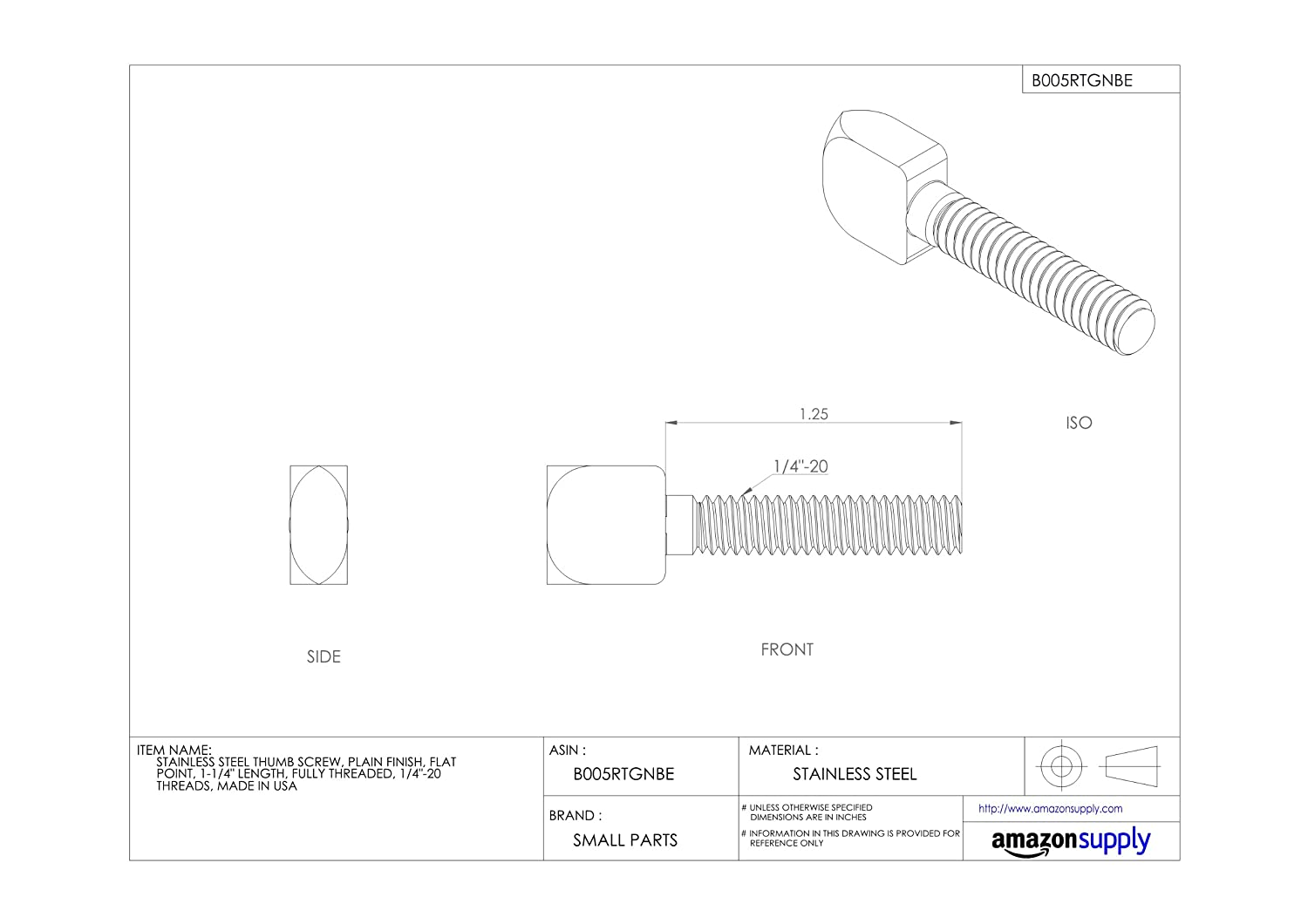 Plain Finish 1//2-13 UNC Threads 1-3//4 Length Flat Point Fully Threaded Made in US Stainless Steel Thumb Screw