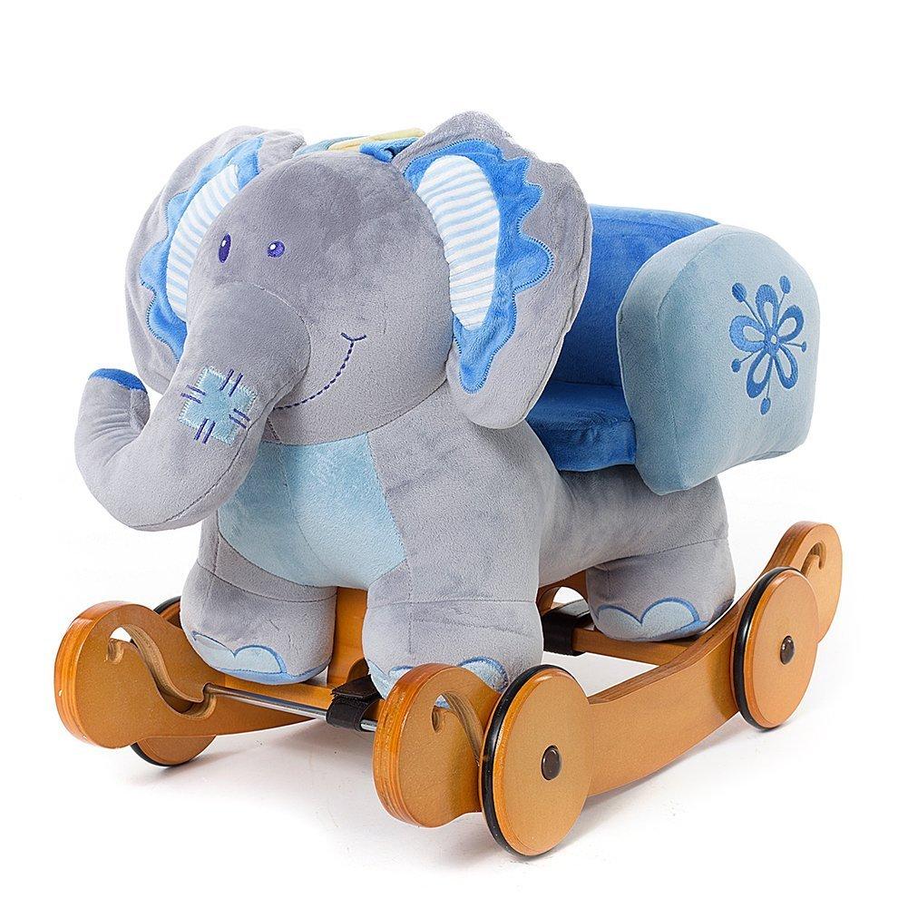OUBO® Schaukeltier Noah der Blauer Elefant Plüsch Schaukel Plüschtier Schaukelpferd mit Rädern, Multi-Funktionen auch als Rutschfahrzeug, für Kinder ab 6 Monate bis 60kg