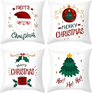 ValueVinylArt Set of 4 Merry Christmas Pillow Covers, Xmas Theme Soft Winter Holiday Throw Pillow Case Cushion Cover Case for Home Sofa Couch Farmhouse Decor 18 x 18 Inch (White)