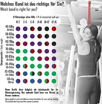 Bandas de Resistencia Elástica + Guía de Entrenamiento | Pull Up Bands Crossfit Yoga Pilates Calistenia | Banda de Tracción para Musculacion Fitness y ...
