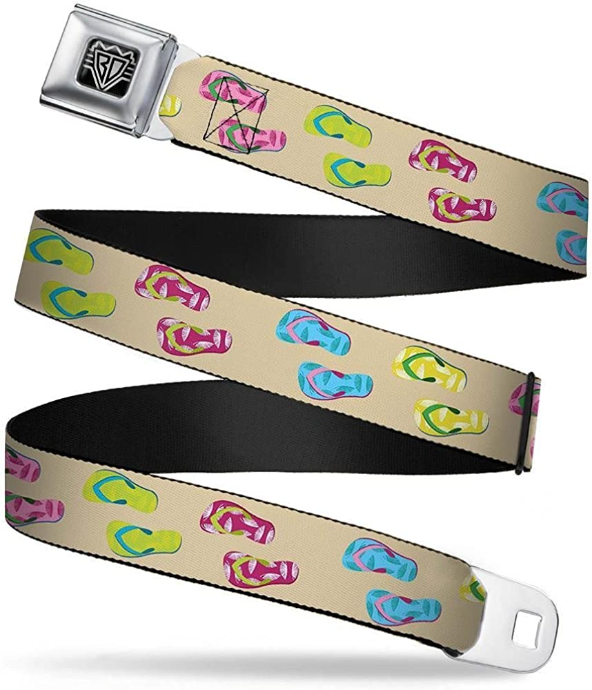 Tropical Flip Flops Tan//Multi Color 1.0 Wide 20-36 Inches in Length Buckle-Down Seatbelt Belt