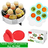 ZOEES Popular Instant pot accessories Set 6 in 1 - Steamer Basket Rack & Egg Bites Mold & Egg Steamer Rack & Silicone Pinch Mitts & Silicone Pot Pad - Fits Instant pot 5/6/8 quart Pressure Cooker