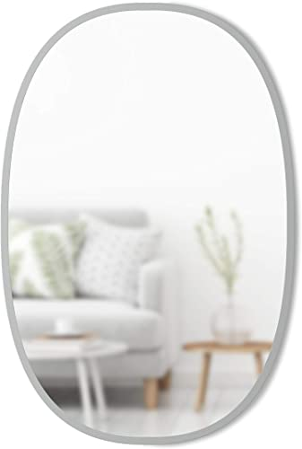 Umbra Hub Oval Wall Mirror, 24 x 36-Inch, Grey