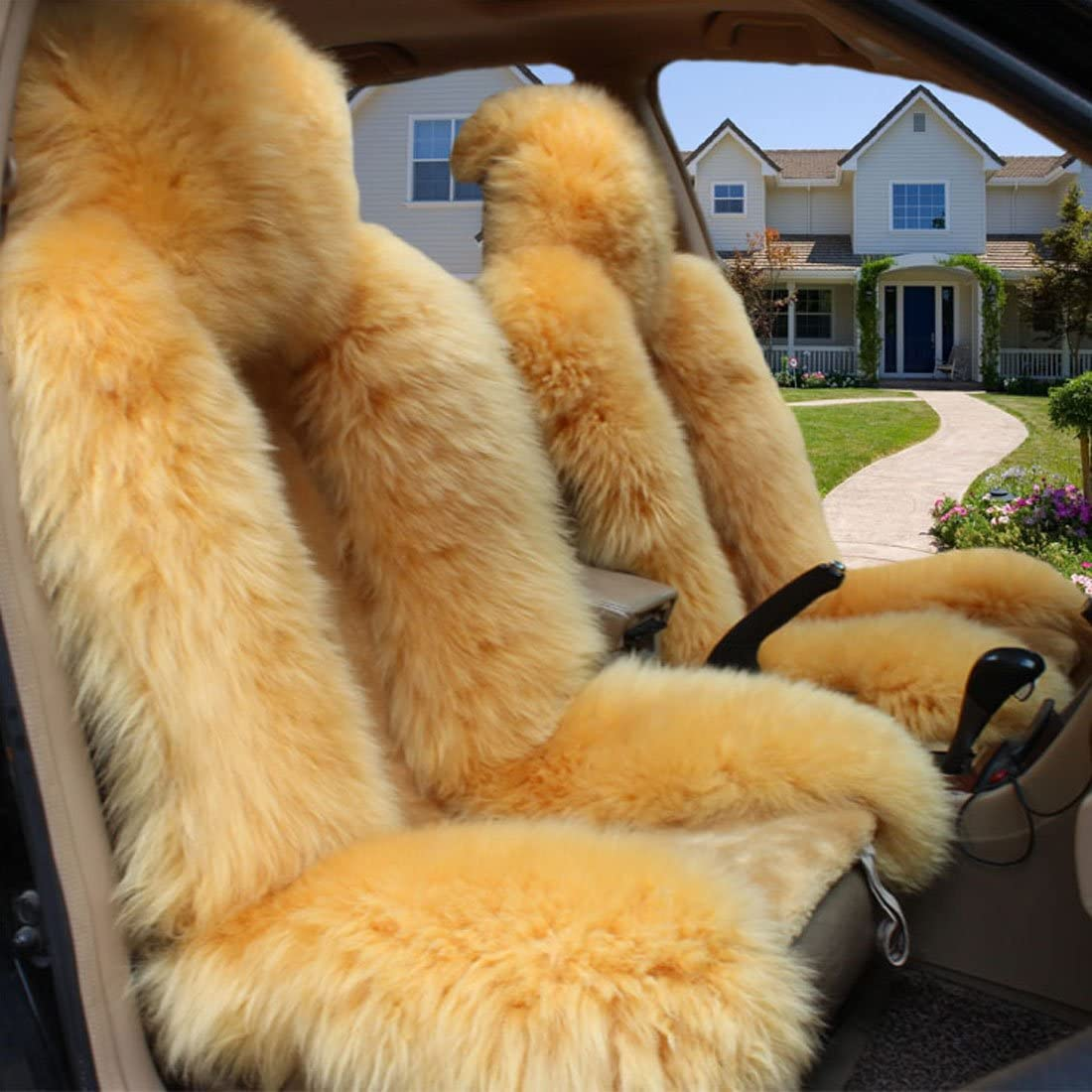 Peiji 2Pcs Interior Thick Wool Car Seat Cover Set Genuine Sheepskin Rug Fleece Universal Cushion Automobile Decoration Warm in Winter