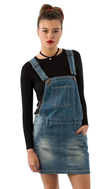 USKEES CLAIRE Short Denim Dungaree Dress - Lightwash Relaxed fit ...