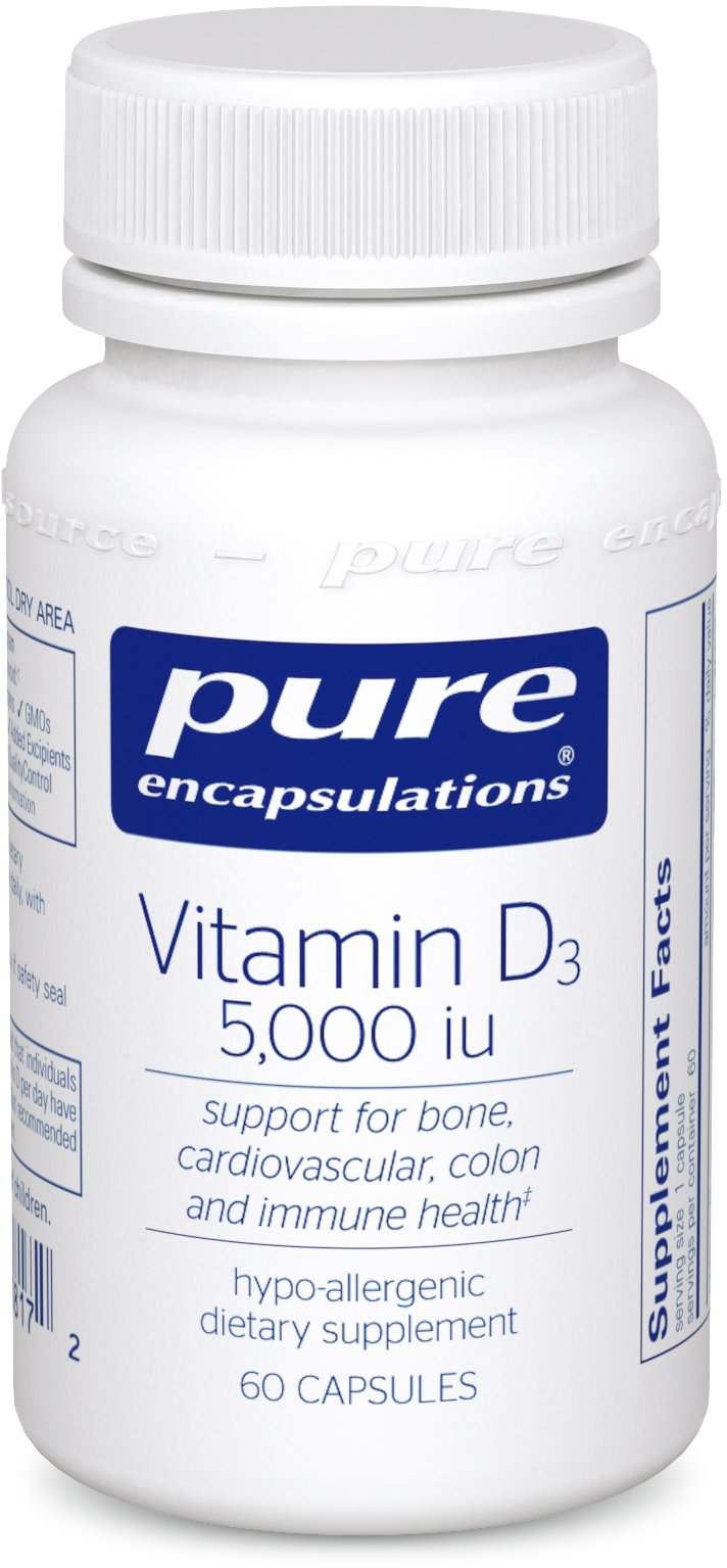 Pure Encapsulations - Vitamin D3 5,000 IU - Hypoallergenic Support for Bone, Breast, Prostate, Cardiovascular, Colon and Immune Health* - 60 Capsules