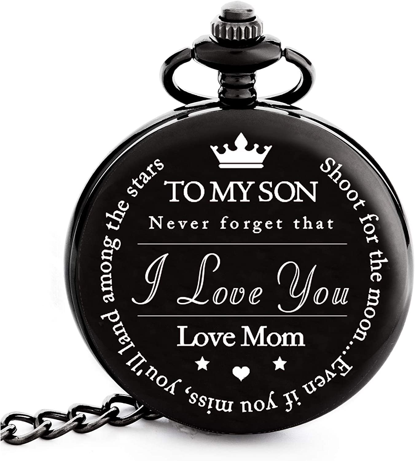 To My Son Mother and Son Graduation 2019 Gift – Engraved To My Son Love Mom Pocket Watch – Perfect Gifts for Son from Mom for Christmas, Valentines Day, Birthday