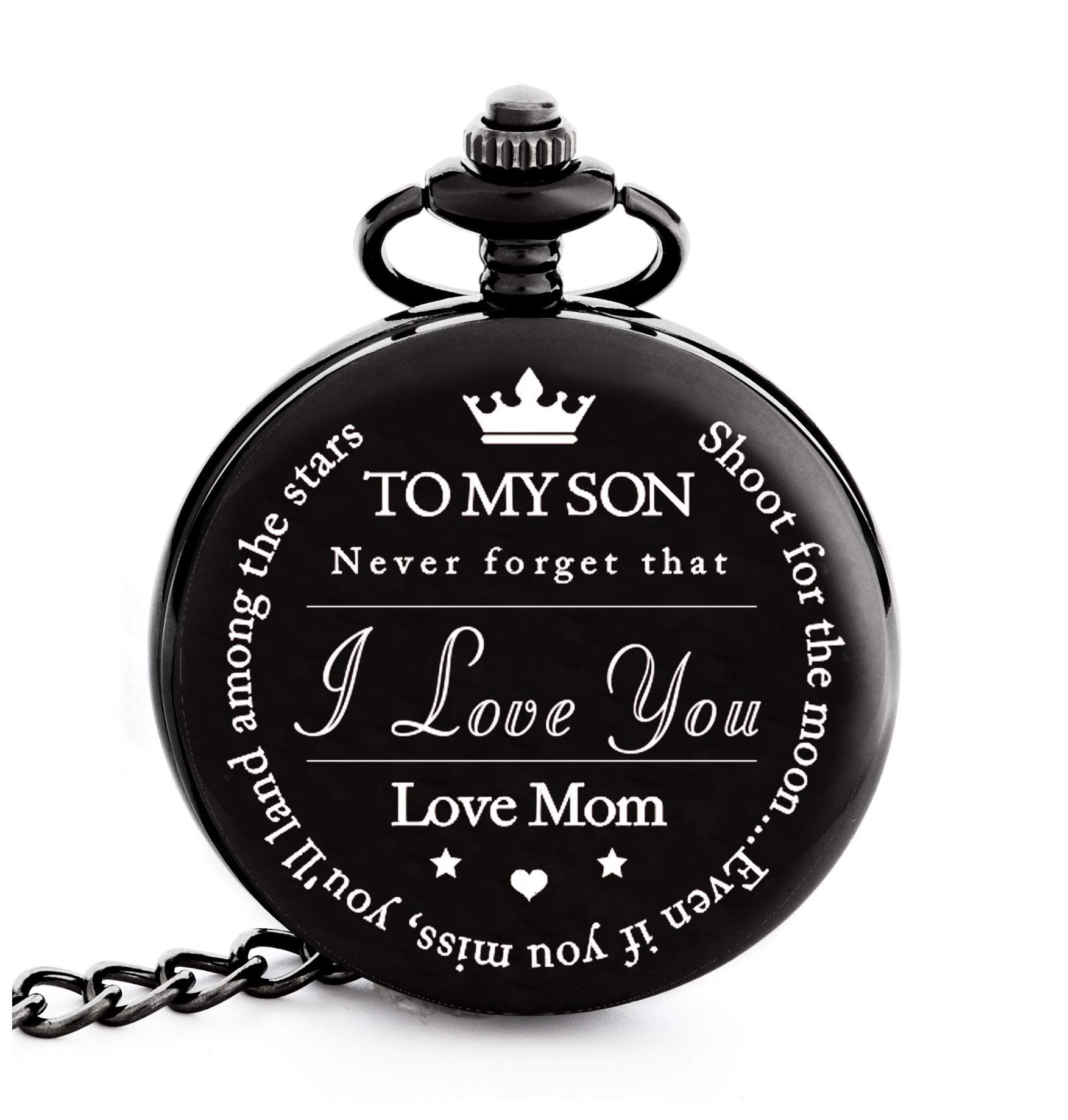 To My Son | Mother and Son Graduation 2019 Gift - Engraved ''To My Son Love Mom'' Pocket Watch - Perfect Gifts for Son from Mom for Christmas, Valentines Day, Birthday