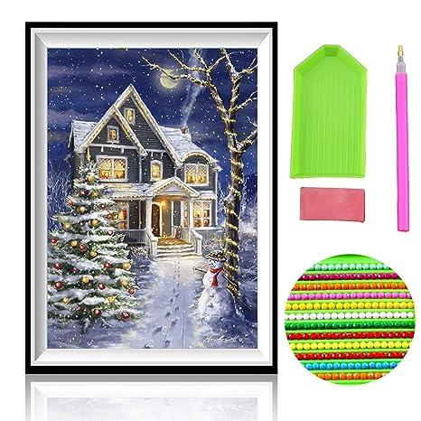 TONVER 5D Kit de pintura de diamantes, mosaico diamante dibujo Santa Claus/Snowman paisaje artes manualidades bordado punto de cruz Kit de decoraciš®n de ...