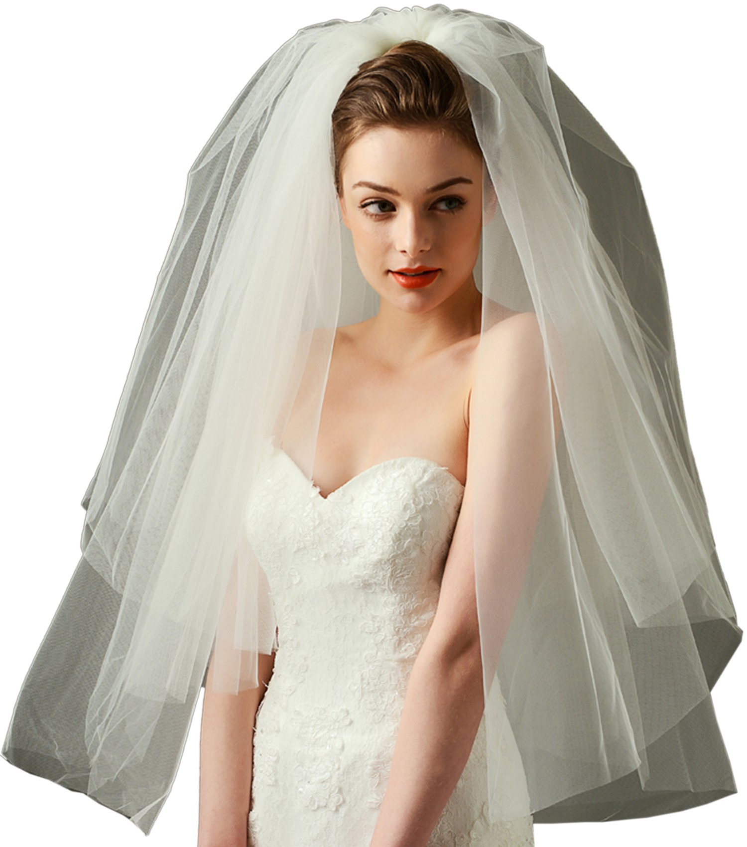 LynnBridal Wedding Veil Tulle Bubble Style Elbow Length 2 Tiers with Metal Comb Ivory
