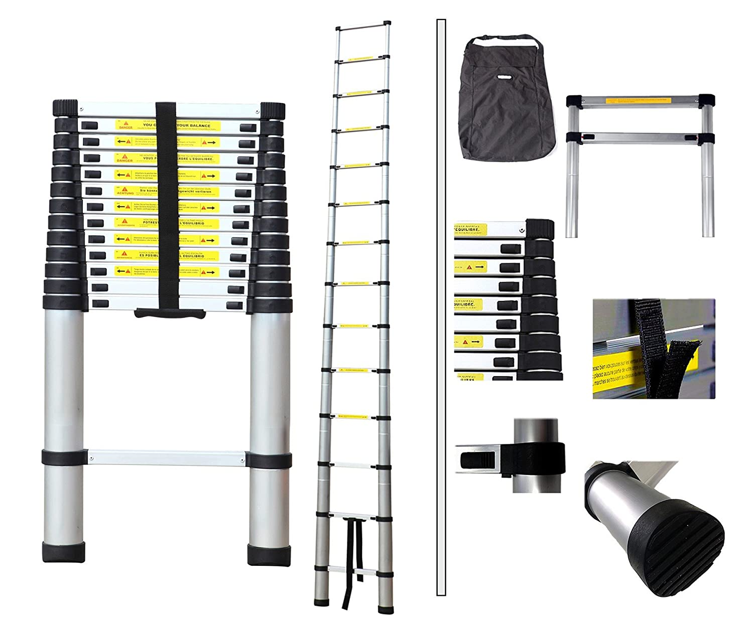 Todeco - Telescopic ladder, Foldable Ladder - Maximum load: 330 lbs - Standard/Certification: EN131 - 13.5 feet, FREE Carry bag, EN 131