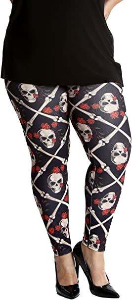 NEW women Leggings Halloween Goth Blue Skulls and Bones Skeleton pants PLUS